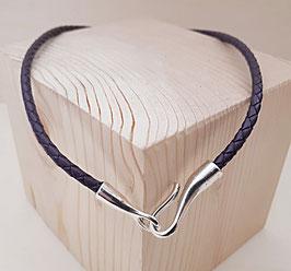 Geflochtene Lederhalskette violett mit Haken