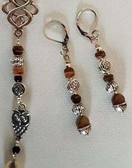 Edelstein Ohrringe mit Picasso Jaspis und Holzperlen