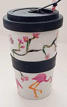 """Porzellan Becher """"Flamingos"""", 500 ml"""