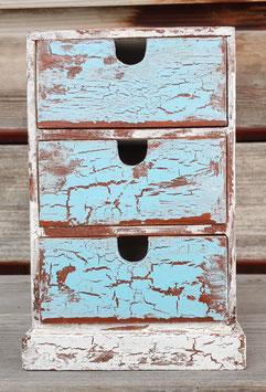 Kleines Schubladenschränkchen blau und weiss