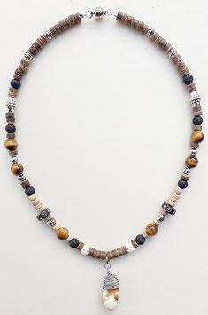 Halskette mit Kokosnussperlen, Tigerauge und Grandelanhänger 8