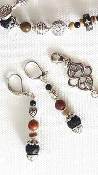 Edelstein Ohrringe mit Picasso Jaspis und Lava Stein