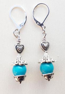 Edelstein Ohrringe mit Türkis und Herz 2