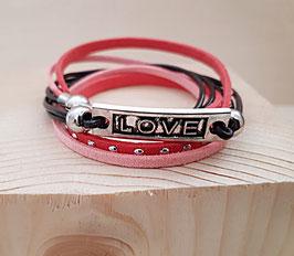 """Kunstwildleder Armband rosa """"Love"""""""