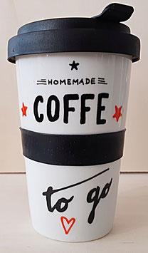 """Porzellan Becher """"Coffe to go"""", 500 ml"""