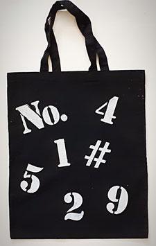 Baumwolltasche schwarz mit weissen Zahlen