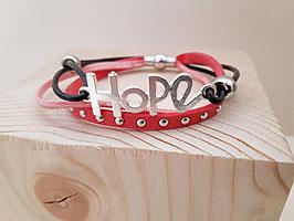 "Kunstwildleder Armband rosa ""Hope"""