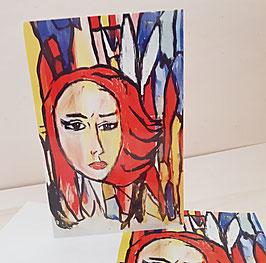Karten Frau rot