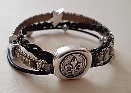 Kunstleder Armband (Silber) mit Sternen und schönem Magnetverschluss 1