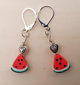 Ohrringe Wassermelone mit Herz