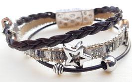 Kunstleder Armband (Silber) mit Sternen und rechteckigem Magnetverschluss 2