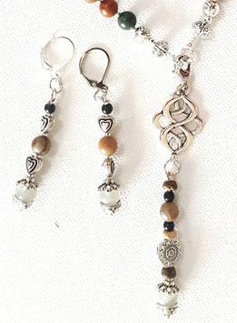Edelstein Ohrringe mit Picasso Jaspis und Mondstein 1