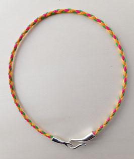 Geflochtene neonfarbene Kordel mit Haken