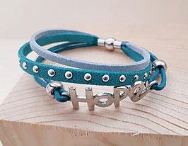 """Kunstwildleder Armband blau """"Hope"""""""