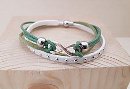 """Kunstwildleder Armband """"grün"""" mit Unendlichkeitszeichen"""