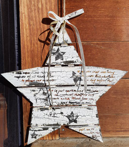 Holzstern (gross) mit Schrift und Sternen