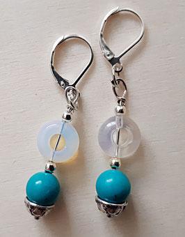 Edelstein Ohrringe mit Türkis und Opalite