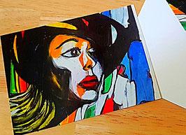 Postkarten Frau mit Hut