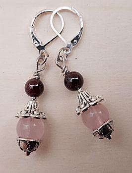Edelstein Ohrringe mit Granat und Rosenquarz (klein)