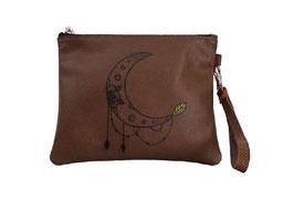 Pochette à dragonne en cuir - décor tattoo lune