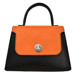 "Sac ""ALEGRIA"" en cuir noir et orange"