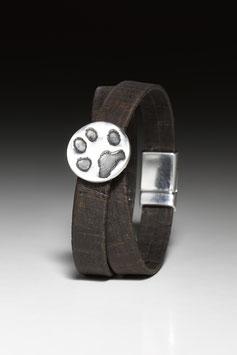 Wickelarmband aus Kork mit Pfötchenabdruck-Nugget