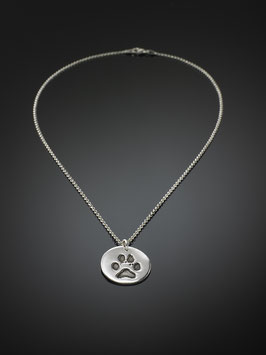 Silberkette mit Pfotenabdruck-Medaillon in Silber