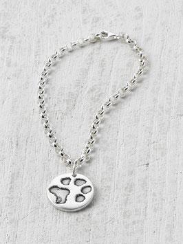 Silberarmband mit Pfotenabdruck-Charm in Silber