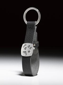 Lederschlüsselanhänger mit eckiger Pfotenabdruck-Platte