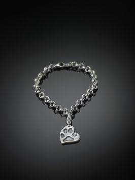 Silberarmband mit Pfotenabdruck-Herzanhänger in Silber