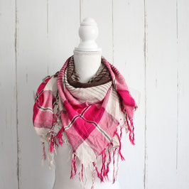 Schal braun-rosa