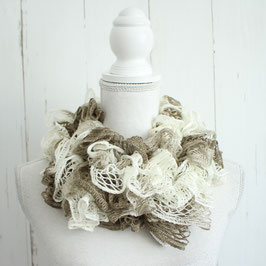 Schal braun-weiß