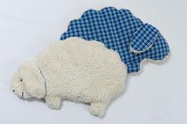 Plüsch-Wärmekissen Schaf Blau Kariert