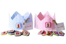 Geburtstagskrone Rosa  mit auswechselbaren Zahlen von 1-10