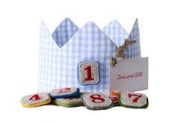 Geburtstagskrone Vichykaro Hellblau  mit Zahlen von 1-10