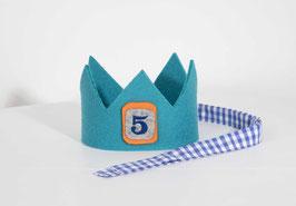 Geburtstagskrone aus Wollfilz Türkis/Vichykaro Mittelblau Zahl 5