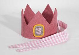 Geburtstagskrone aus Wollfilz Rosa/Vichykaro Rosa Zahl 3