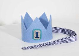 Geburtstagskrone aus Wollfilz Hellblau/Vichykaro Dunkelblau Zahl 1