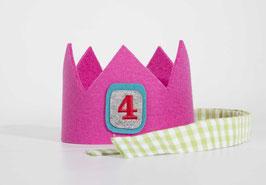 Geburtstagskrone aus Wollfilz Pink/ Vichykaro Grün Zahl 4