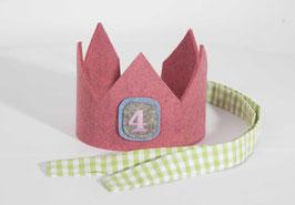 Geburtstagskrone aus Wollfilz Rosa/Vichykaro Hellgrün Zahl 4