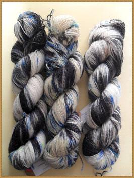 Silver Stellina Sparkle Sock, handgefärbt