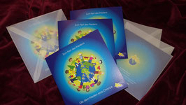 Weihnachts-Klappkarte BLAU mit transparentem Briefumschlag