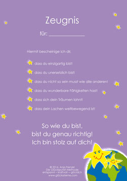 Das Glückssterne-Zeugnis lila