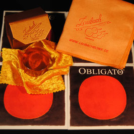Pirastro - Obligato EU Violinstrings SET + Laubach Gold Rosin for Violin + Laubach Cleaning and Polishing Cloth