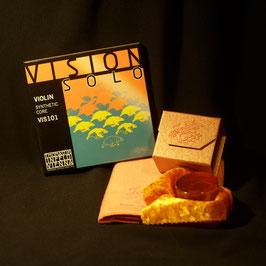 Струны VISION SOLO VIS 101 + золотая канифоль Laubach + полиуретановый безворсовый платочек купить в наборе