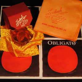Obligato EU Violinstrings SET + Laubach Rosin for Violin + Laubach Cleaning and Polishing Cloth