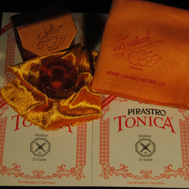 Pirastro - Tonica Violinstrings SET + Laubach Gold Rosin for Violin + Laubach Cleaning and Polishing Cloth