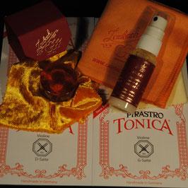 Tonica EU Violinstrings SET + Laubach Rosin for Violin + Laubach Cleaning and Polishing Cloth + Laubach Varnish Cleaner & Polish Spray