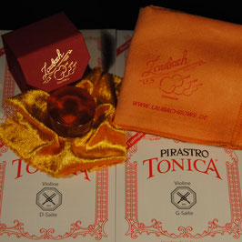 Pirastro - Tonica Violastrings SET + Laubach Rosin + Laubach Cleaning and Polishing Cloth