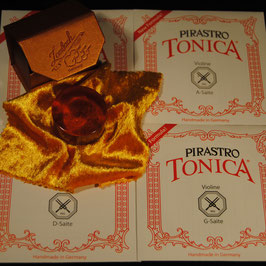 Pirastro - Tonica Violinstrings SET + Laubach Gold Rosin for Violin